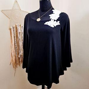 Alfani Black White Floral Embellished  Tunic